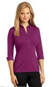 purple-womens-three-quarter-sleeve-polo