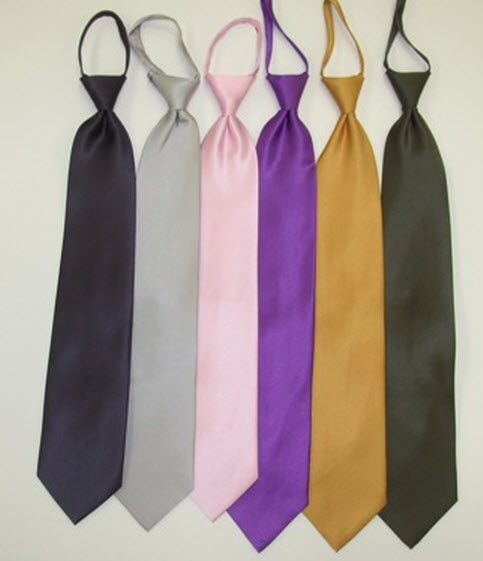 Solid Colors Zipper Ties Examples