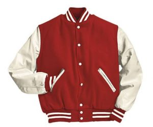 Men's Red and White Letterman Varsity Jacket