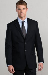 mens machine washable suit in black