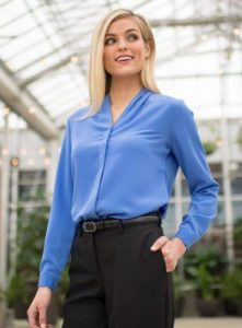 sharper uniforms - ladies hotel woven v-neck blouse in blue